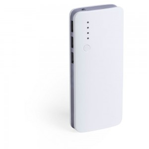 Power bank 10000 mAh, lampka LED V3856-19 (kolor: szary)