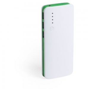 Power bank 10000 mAh, lampka LED V3856-06 (kolor: zielony)