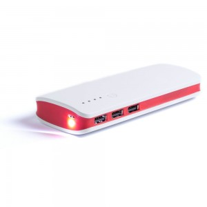 Power bank 10000 mAh, lampka LED V3856-05 (kolor: czerwony)